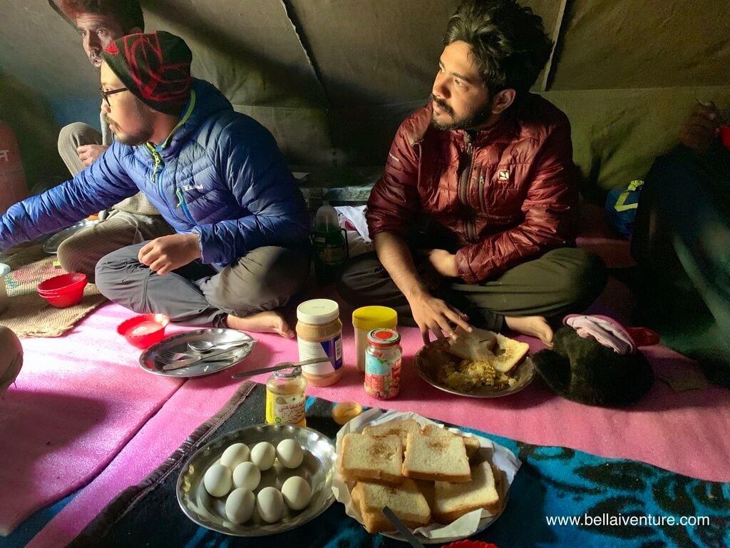 印度 India 北北印  North India 喀什米爾 Kashmir 大湖健行 trekking Kashmir Great Lakes Trek  早餐