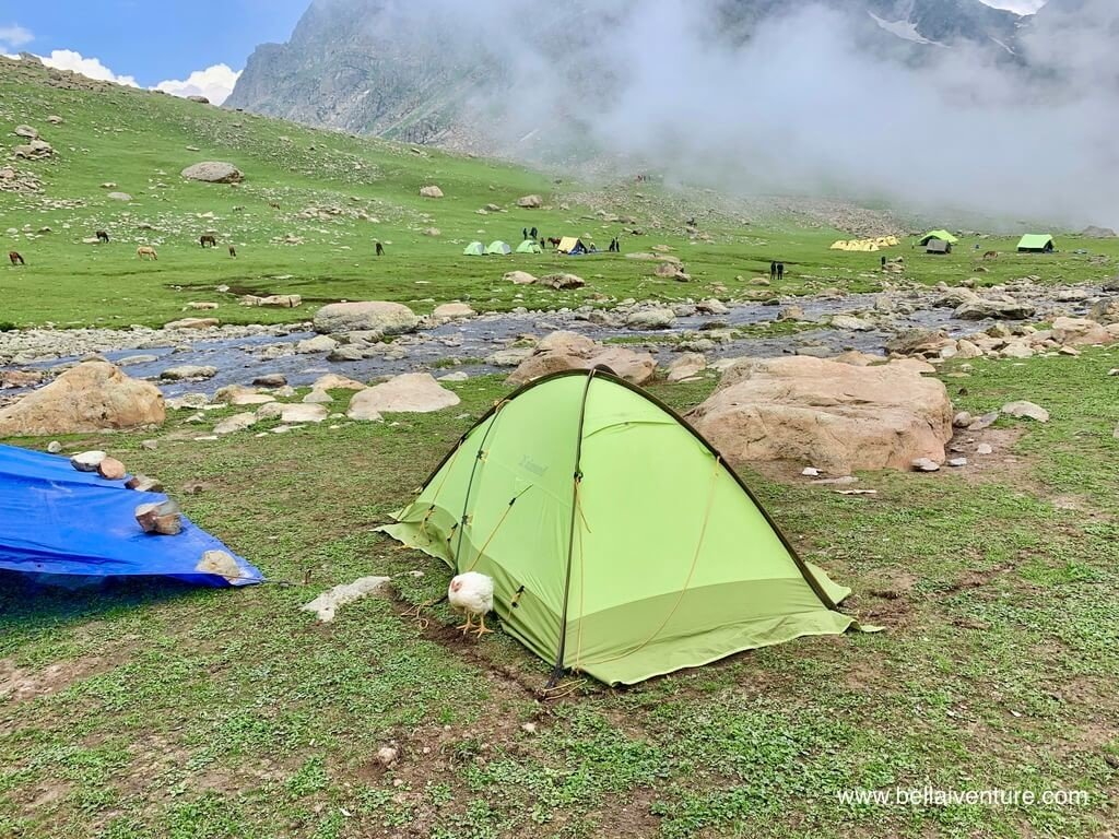 印度 India 北北印  North India 喀什米爾 Kashmir 大湖健行 trekking Kashmir Great Lakes Trek 我的帳篷與雞