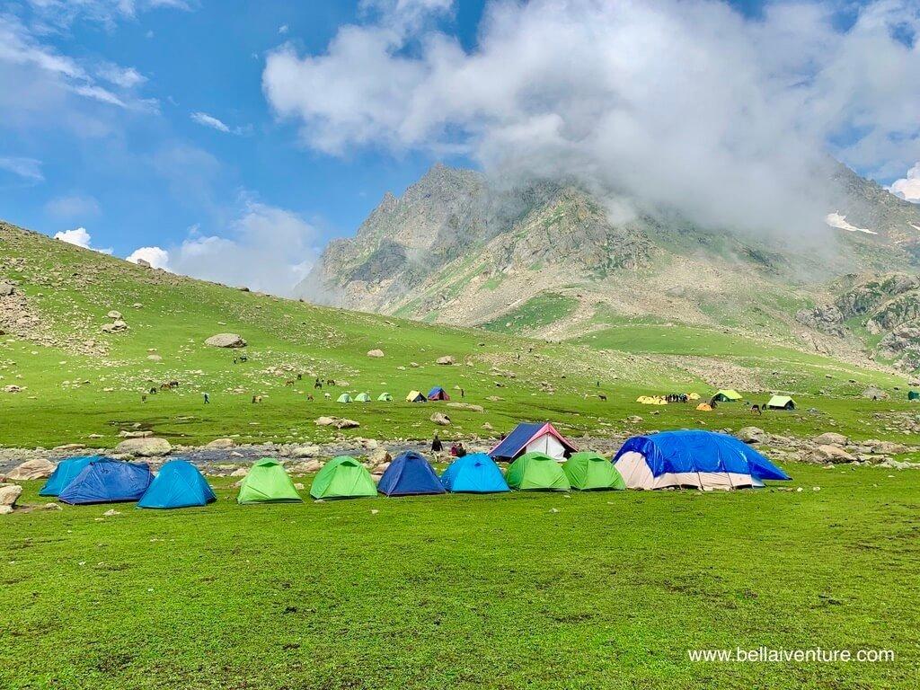 印度 India 北北印  North India 喀什米爾 Kashmir 大湖健行 trekking Kashmir Great Lakes Trek 帳篷群