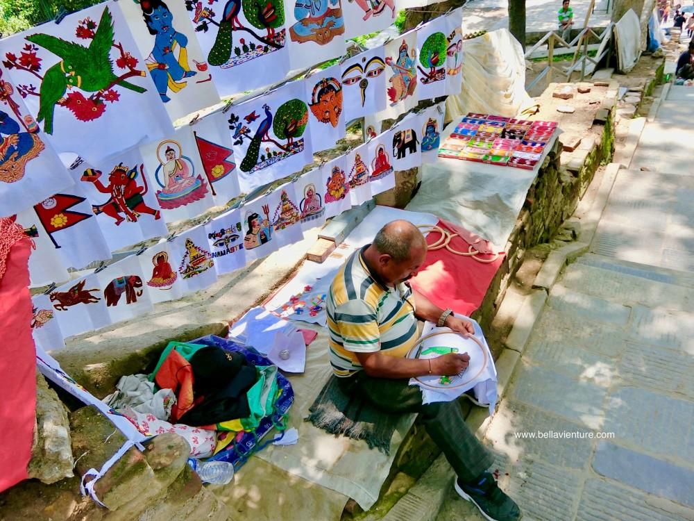 斯瓦揚布納特佛寺Swayambhunath猴廟 monkey temple 刺繡 叔叔