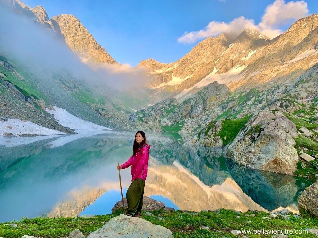 印度 India 北北印  North India 喀什米爾 Kashmir 大湖健行 trekking Kashmir Great Lakes Trek 夕陽與聖湖