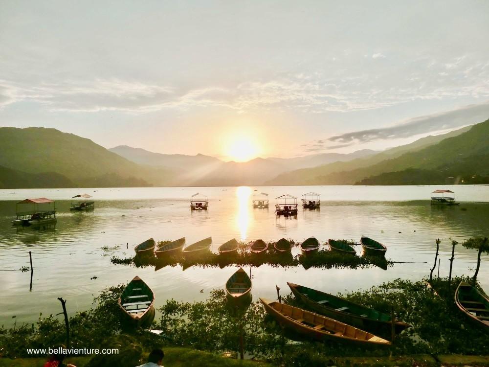 尼泊爾 波卡拉 Nepal Pokhara Phewa lake 湖景 夕陽