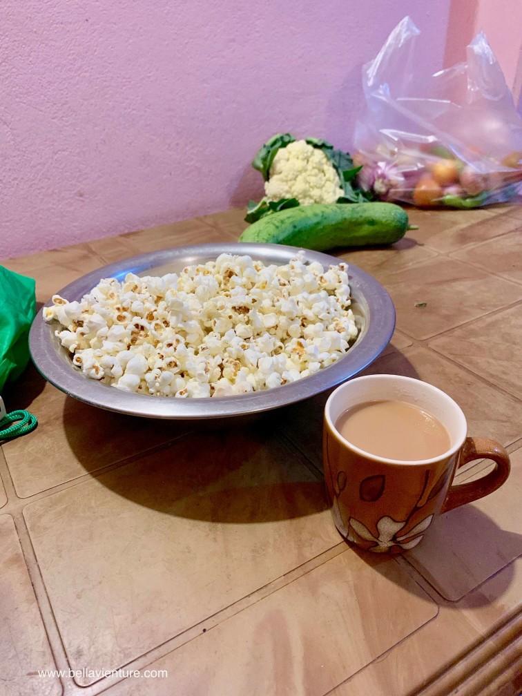 尼泊爾 波卡拉 Nepal Pokhara 奶茶 爆米花 前菜
