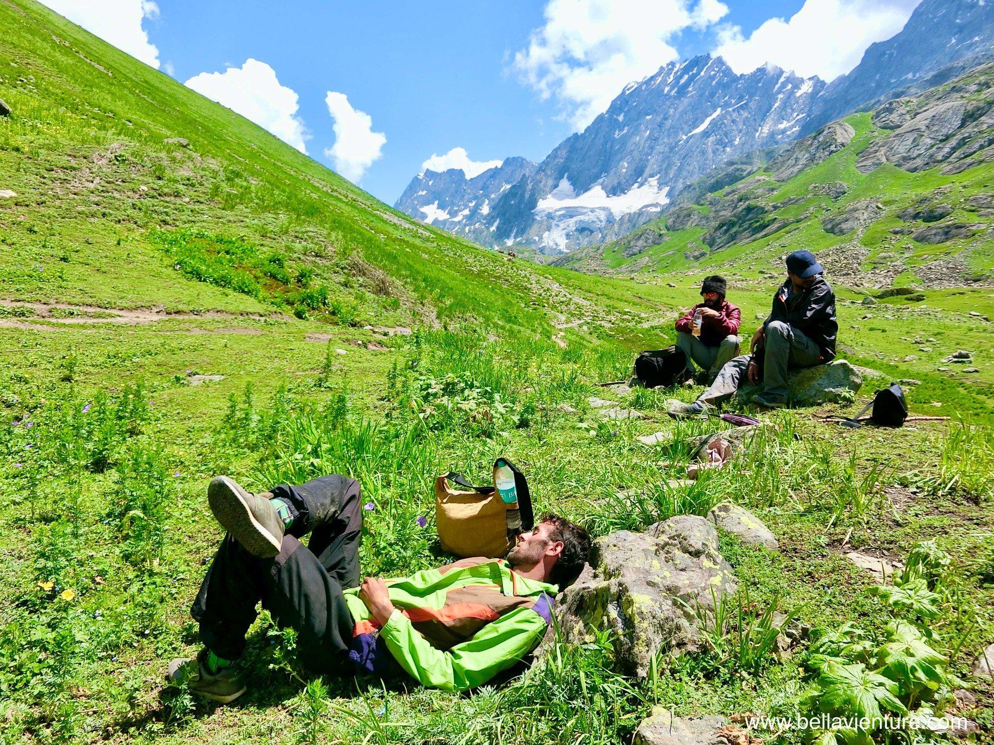 印度India 北北印 North India 喀什米爾 Kashmir 大湖健行 trekking 休息