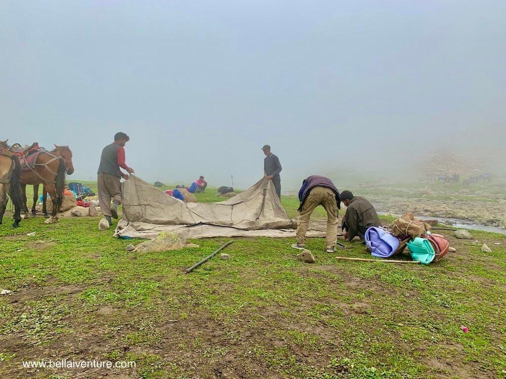印度 India 北北印  North India 喀什米爾 Kashmir 大湖健行 trekking Kashmir Great Lakes Trek 搭帳篷