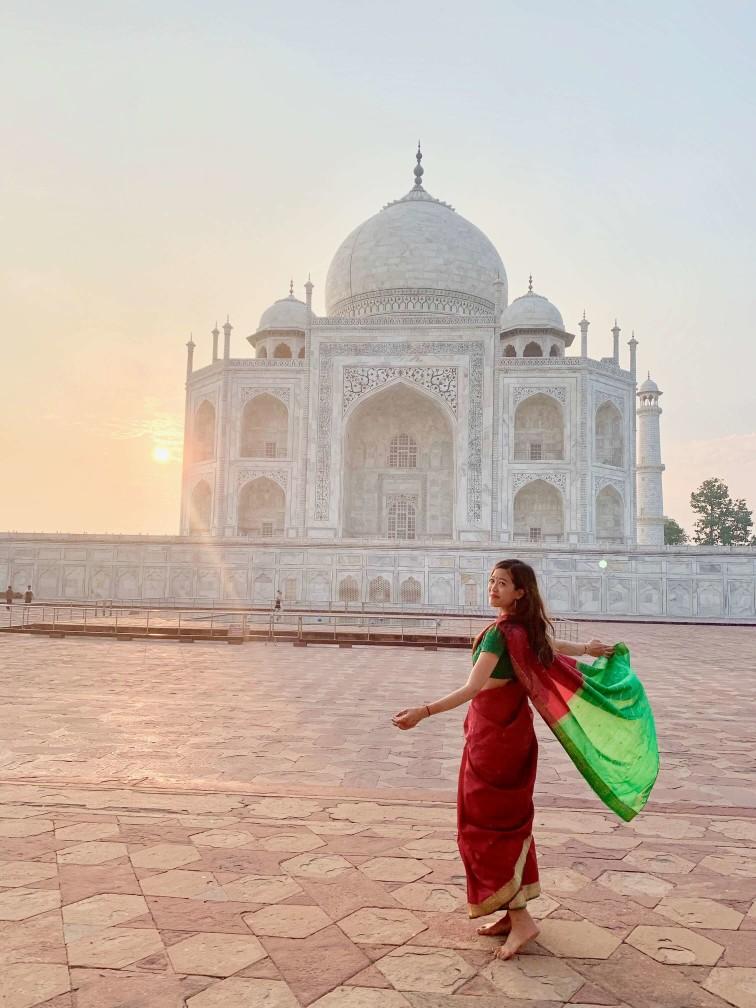 印度india  阿格拉 Agra 泰姬瑪哈陵 Taj Mahal 紗麗 Saree sunrise 日出
