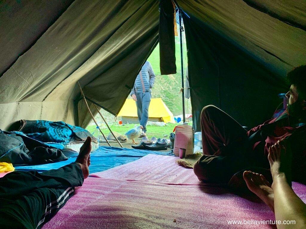 印度India 北北印 North India 喀什米爾 Kashmir 大湖健行 trekking 帳篷 休息